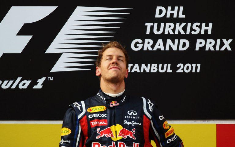 Sebastian Vettel po víťazstve na VC Turecka 2011