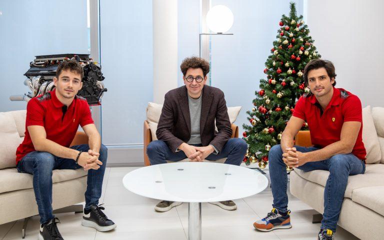 Charles Leclerc, Mattia Binotto, Carlos Sainz