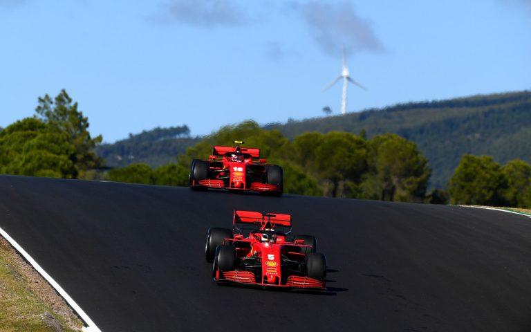 Sebastian Vettel pred Charlesom Leclercom