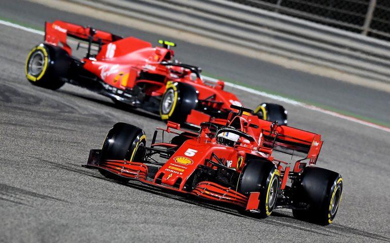 Sebastian Vettel pred Leclercom
