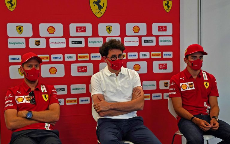 Sebastian Vettel, Mattia Binotto, Charles Leclerc