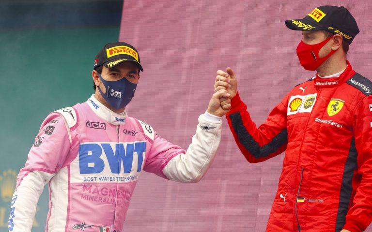 Sergio Pérez a Sebastian Vettel