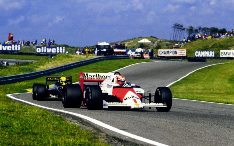 Niki Lauda, McLaren MP4/2B, Ayrton Senna, Lotus 97T, VC Holandska 1985