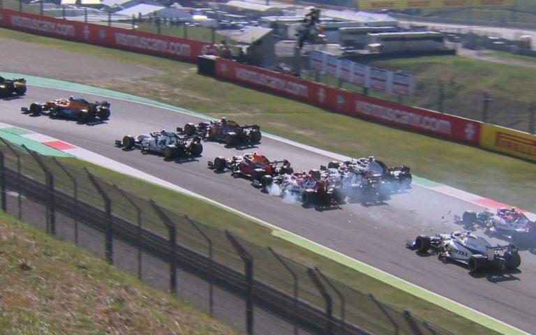 Nehoda Verstappen, Räikkönen, Gasly, Grosjean