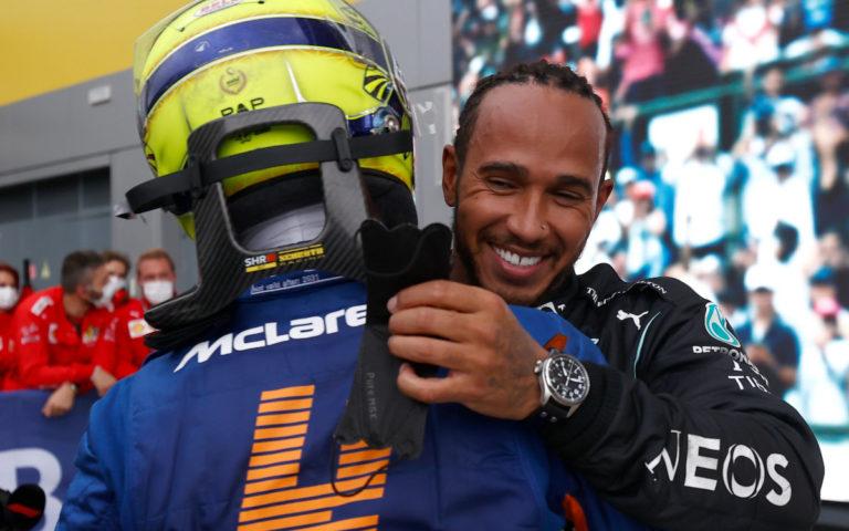 Lando Norris a Lewis Hamilton