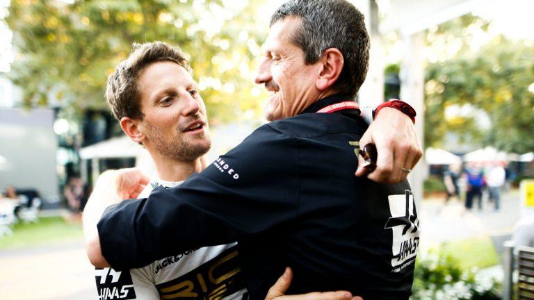 Günther Steiner a Romain Grosjean
