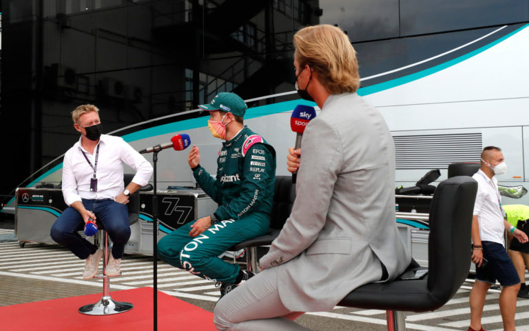 Sebastian Vettel, Nico Rosberg a Simon Lazenby