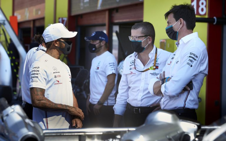 Lewis Hamilton, Toto Wolff, Andy Cowell