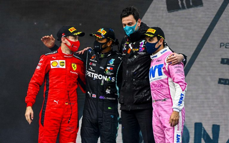 Sebastian Vettel, Lewis Hamilton, Toto Wolff, Sergio Pérez