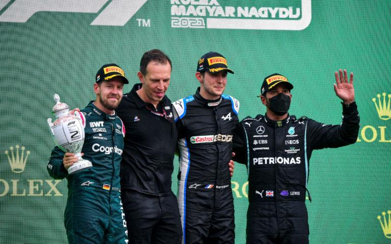 Pódium VC Maďarska 2021, Sebastian Vettel, Esteban Ocon, Lewis Hamilton