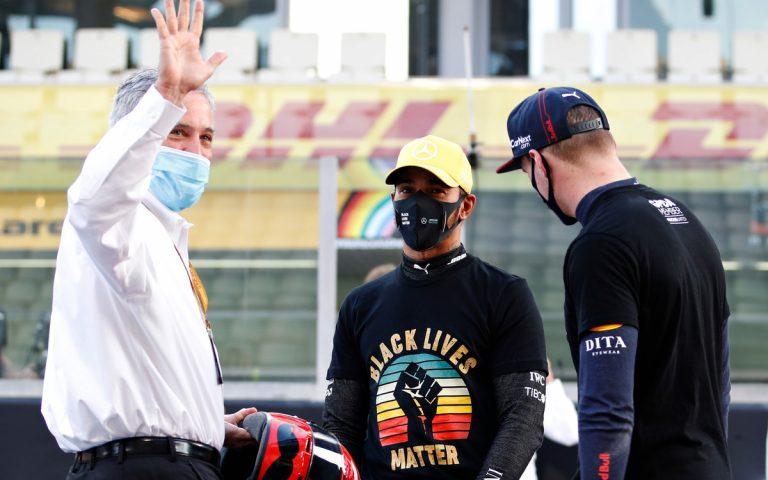 Chase Carey, Lewis Hamilton a Max Verstappen