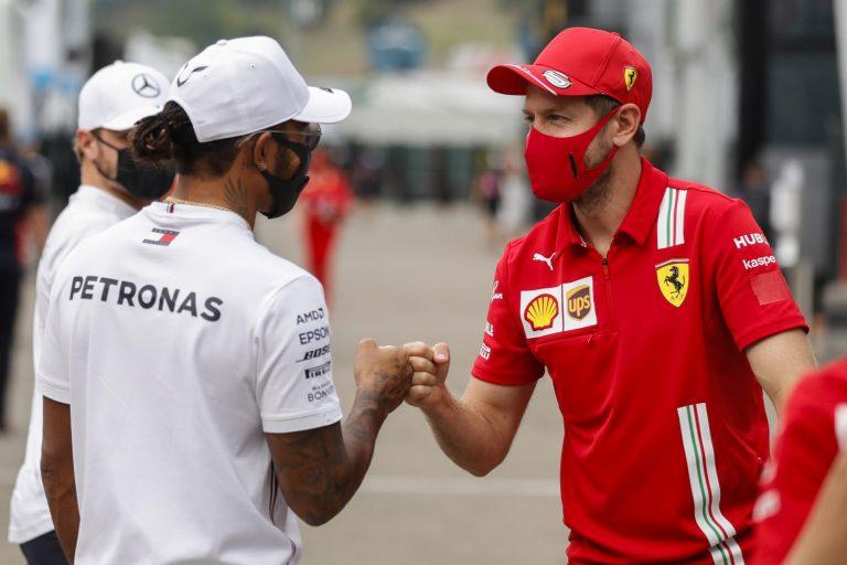 Sebastian Vettel a Lewis Hamilton