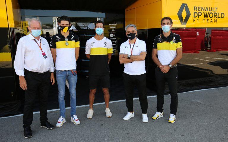 Jerome Stoll, Esteban Ocon, Daniel Ricciardo, Luca de Meo, Cyril Abiteboul